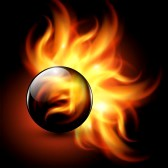 13497530 3d sphere with fire flames inside as vector background